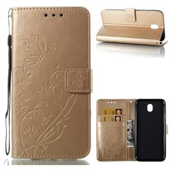 Embossing Butterfly Flower Leather Wallet Case for Samsung Galaxy J7 2017 J730 Eurasian - Champagne