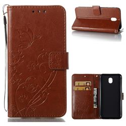Embossing Butterfly Flower Leather Wallet Case for Samsung Galaxy J7 2017 J730 Eurasian - Brown