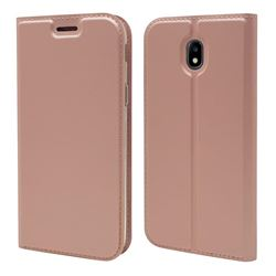 Ultra Slim Card Magnetic Automatic Suction Leather Wallet Case for Samsung Galaxy J7 2017 J730 Eurasian - Rose Gold