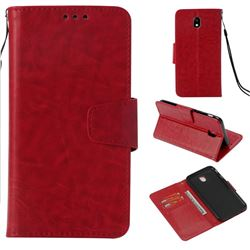 Retro Phantom Smooth PU Leather Wallet Holster Case for Samsung Galaxy J7 2017 J730 Eurasian - Red