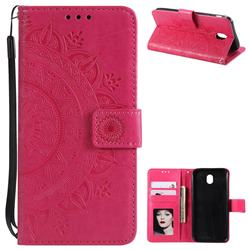 Intricate Embossing Datura Leather Wallet Case for Samsung Galaxy J7 2017 J730 Eurasian - Rose Red