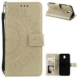 Intricate Embossing Datura Leather Wallet Case for Samsung Galaxy J7 2017 J730 Eurasian - Golden