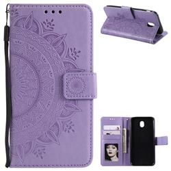 Intricate Embossing Datura Leather Wallet Case for Samsung Galaxy J7 2017 J730 Eurasian - Purple