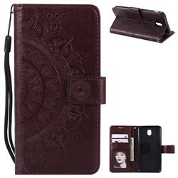Intricate Embossing Datura Leather Wallet Case for Samsung Galaxy J7 2017 J730 Eurasian - Brown