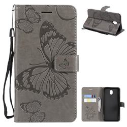Embossing 3D Butterfly Leather Wallet Case for Samsung Galaxy J7 2017 J730 Eurasian - Gray