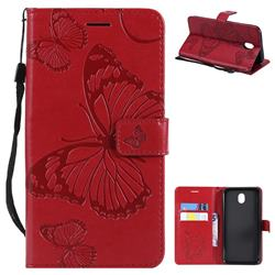 Embossing 3D Butterfly Leather Wallet Case for Samsung Galaxy J7 2017 J730 Eurasian - Red