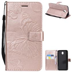 Embossing 3D Butterfly Leather Wallet Case for Samsung Galaxy J7 2017 J730 Eurasian - Rose Gold