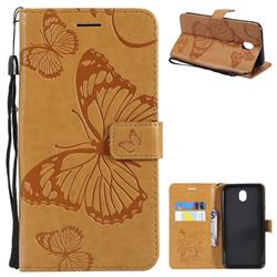 Embossing 3D Butterfly Leather Wallet Case for Samsung Galaxy J7 2017 J730 Eurasian - Yellow