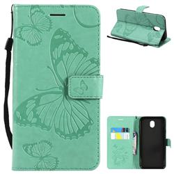 Embossing 3D Butterfly Leather Wallet Case for Samsung Galaxy J7 2017 J730 Eurasian - Green