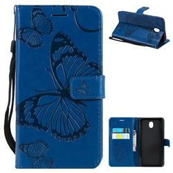 Embossing 3D Butterfly Leather Wallet Case for Samsung Galaxy J7 2017 J730 Eurasian - Blue