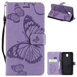 Embossing 3D Butterfly Leather Wallet Case for Samsung Galaxy J7 2017 J730 Eurasian - Purple