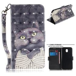 Cat Embrace 3D Painted Leather Wallet Phone Case for Samsung Galaxy J7 2017 J730 Eurasian