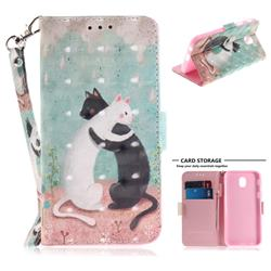 Black and White Cat 3D Painted Leather Wallet Phone Case for Samsung Galaxy J7 2017 J730 Eurasian