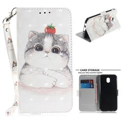 Cute Tomato Cat 3D Painted Leather Wallet Phone Case for Samsung Galaxy J7 2017 J730 Eurasian