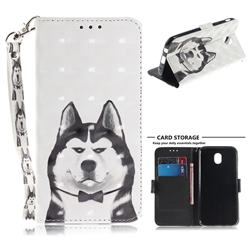 Husky Dog 3D Painted Leather Wallet Phone Case for Samsung Galaxy J7 2017 J730 Eurasian