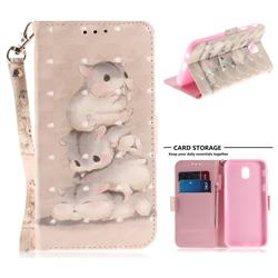 Three Squirrels 3D Painted Leather Wallet Phone Case for Samsung Galaxy J7 2017 J730 Eurasian