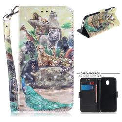 Beast Zoo 3D Painted Leather Wallet Phone Case for Samsung Galaxy J7 2017 J730 Eurasian