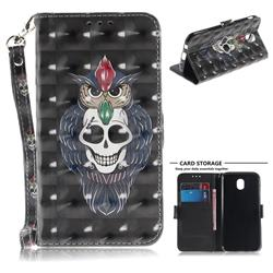 Skull Cat 3D Painted Leather Wallet Phone Case for Samsung Galaxy J7 2017 J730 Eurasian