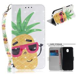Pineapple Glasses 3D Painted Leather Wallet Phone Case for Samsung Galaxy J7 2017 J730 Eurasian