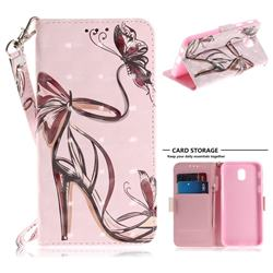 Butterfly High Heels 3D Painted Leather Wallet Phone Case for Samsung Galaxy J7 2017 J730 Eurasian