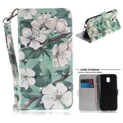 Watercolor Flower 3D Painted Leather Wallet Phone Case for Samsung Galaxy J7 2017 J730 Eurasian