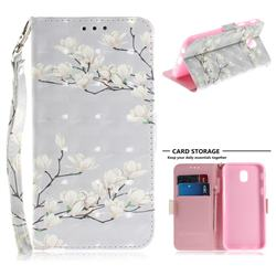 Magnolia Flower 3D Painted Leather Wallet Phone Case for Samsung Galaxy J7 2017 J730 Eurasian