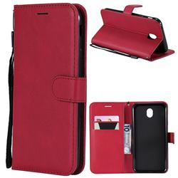 Retro Greek Classic Smooth PU Leather Wallet Phone Case for Samsung Galaxy J7 2017 J730 Eurasian - Red