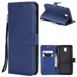 Retro Greek Classic Smooth PU Leather Wallet Phone Case for Samsung Galaxy J7 2017 J730 Eurasian - Blue