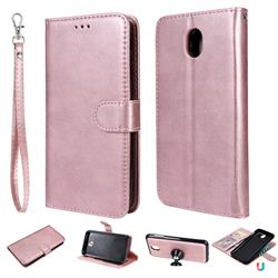 Retro Greek Detachable Magnetic PU Leather Wallet Phone Case for Samsung Galaxy J7 2017 J730 Eurasian - Rose Gold
