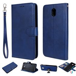 Retro Greek Detachable Magnetic PU Leather Wallet Phone Case for Samsung Galaxy J7 2017 J730 Eurasian - Blue