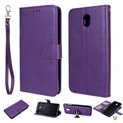 Retro Greek Detachable Magnetic PU Leather Wallet Phone Case for Samsung Galaxy J7 2017 J730 Eurasian - Purple