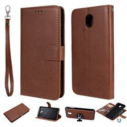 Retro Greek Detachable Magnetic PU Leather Wallet Phone Case for Samsung Galaxy J7 2017 J730 Eurasian - Brown