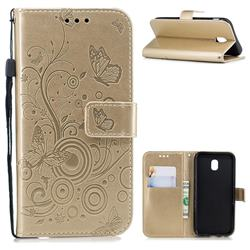 Intricate Embossing Butterfly Circle Leather Wallet Case for Samsung Galaxy J7 2017 J730 Eurasian - Champagne