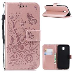Intricate Embossing Butterfly Circle Leather Wallet Case for Samsung Galaxy J7 2017 J730 Eurasian - Rose Gold