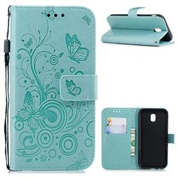 Intricate Embossing Butterfly Circle Leather Wallet Case for Samsung Galaxy J7 2017 J730 Eurasian - Cyan