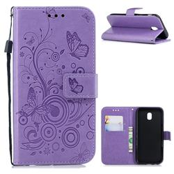 Intricate Embossing Butterfly Circle Leather Wallet Case for Samsung Galaxy J7 2017 J730 Eurasian - Purple