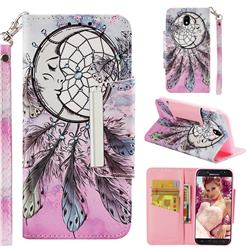 Angel Monternet Big Metal Buckle PU Leather Wallet Phone Case for Samsung Galaxy J7 2017 J730 Eurasian