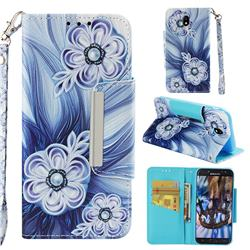 Button Flower Big Metal Buckle PU Leather Wallet Phone Case for Samsung Galaxy J7 2017 J730 Eurasian