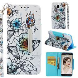 Fotus Flower Big Metal Buckle PU Leather Wallet Phone Case for Samsung Galaxy J7 2017 J730 Eurasian