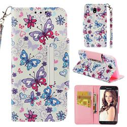 Colored Butterfly Big Metal Buckle PU Leather Wallet Phone Case for Samsung Galaxy J7 2017 J730 Eurasian