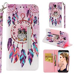Owl Wind Chimes Big Metal Buckle PU Leather Wallet Phone Case for Samsung Galaxy J7 2017 J730 Eurasian
