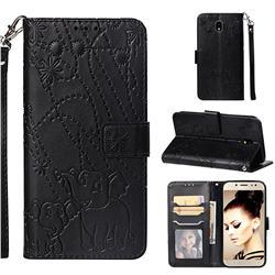Embossing Fireworks Elephant Leather Wallet Case for Samsung Galaxy J7 2017 J730 Eurasian - Black