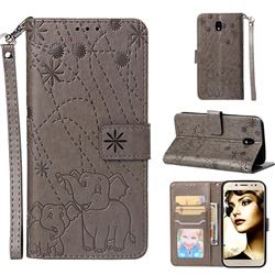 Embossing Fireworks Elephant Leather Wallet Case for Samsung Galaxy J7 2017 J730 Eurasian - Gray