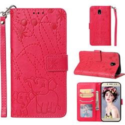 Embossing Fireworks Elephant Leather Wallet Case for Samsung Galaxy J7 2017 J730 Eurasian - Red