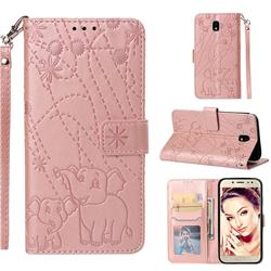 Embossing Fireworks Elephant Leather Wallet Case for Samsung Galaxy J7 2017 J730 Eurasian - Rose Gold