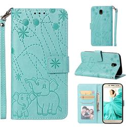 Embossing Fireworks Elephant Leather Wallet Case for Samsung Galaxy J7 2017 J730 Eurasian - Green
