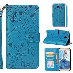 Embossing Fireworks Elephant Leather Wallet Case for Samsung Galaxy J7 2017 J730 Eurasian - Blue