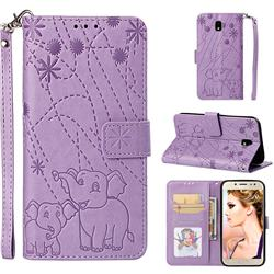 Embossing Fireworks Elephant Leather Wallet Case for Samsung Galaxy J7 2017 J730 Eurasian - Purple