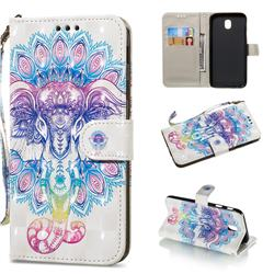 Colorful Elephant 3D Painted Leather Wallet Phone Case for Samsung Galaxy J7 2017 J730 Eurasian