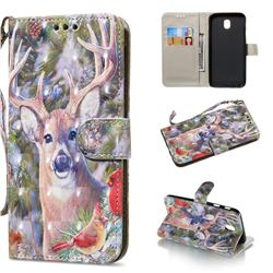 Elk Deer 3D Painted Leather Wallet Phone Case for Samsung Galaxy J7 2017 J730 Eurasian